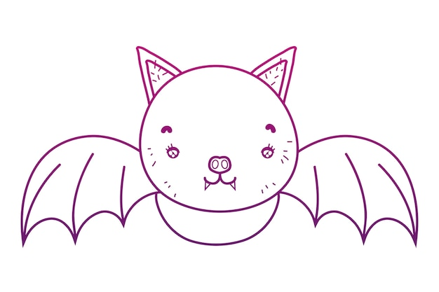 Degraded outline cute bat animal selvagem voando