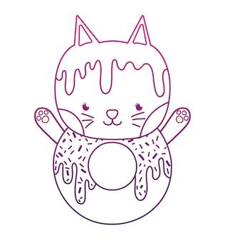 Degraded outline kawaii cute cat donut alimentos