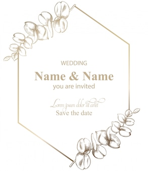 Deixa a arte de linha de cartão de decoração. convite de casamento estilo retro vintage ou saudações