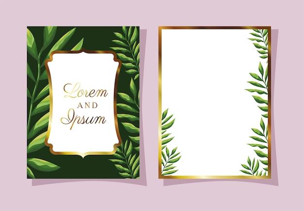 Deixa convite de cor preta com folhas verdes em um fundo rosa