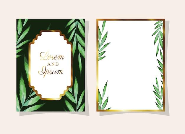 Deixa convite de cor preta com folhas verdes sobre fundo bege
