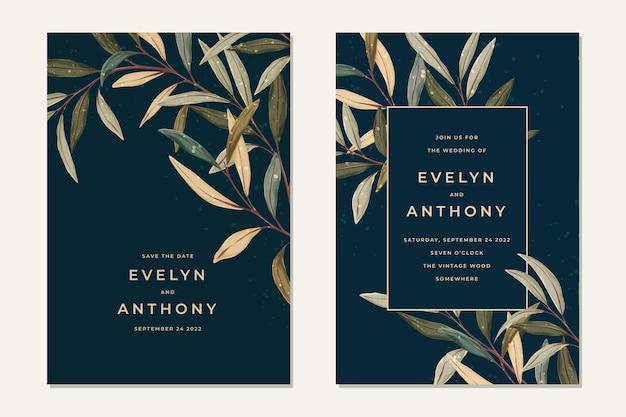 Deixa o convite de casamento em estilo vintage. fundo de vegetação rústico.