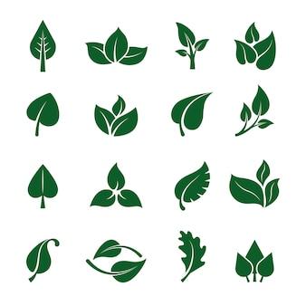 Deixa o logotipo. plantas verdes estilizadas para projetos de design de marca de negócios ecológicos jardim natural