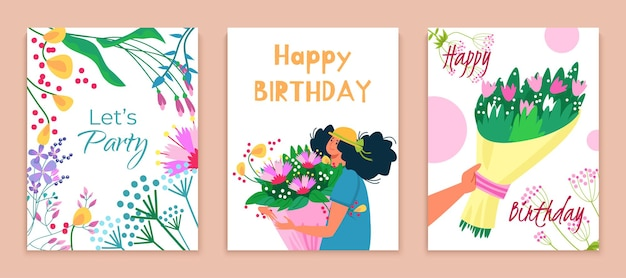 Deixe a festa feliz aniversário conjunto buquê de flores