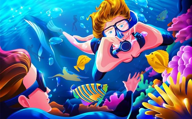 Deixe o estresse e obtenha ilustração do conceito de mergulho