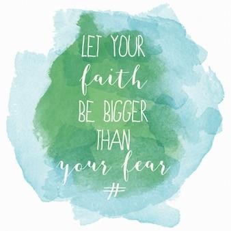 Deixe sua fé ser maior do que o seu medo cartaz motivação aguarela