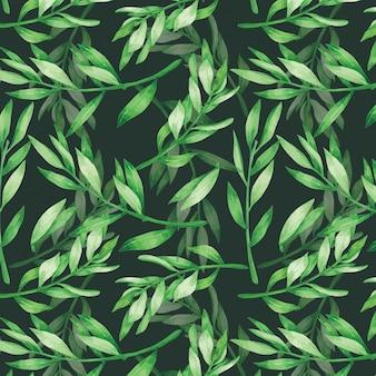 Deixe verde padrão sem emenda em aquarela