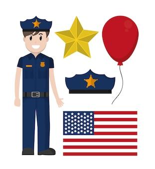 Delegacia de polícia com a bandeira do eua e distintivo