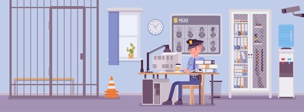 Delegacia de polícia e um policial trabalhando