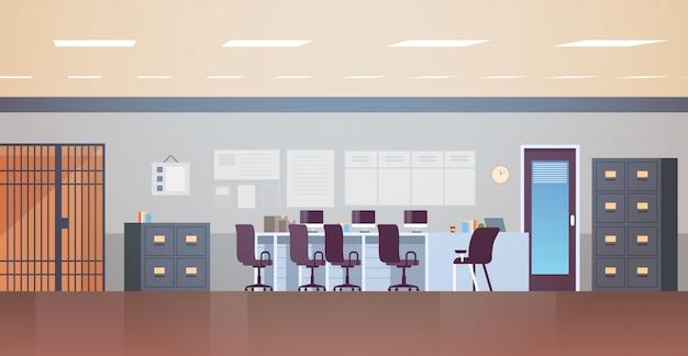 Delegacia de polícia moderna ou departamento com móveis vazios sem pessoas escritório sala interior plana horizontal