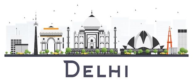Delhi india city skyline com cor edifícios isolados no fundo branco. ilustração vetorial. viagem de negócios e conceito de turismo com arquitetura moderna. delhi cityscape com pontos de referência.