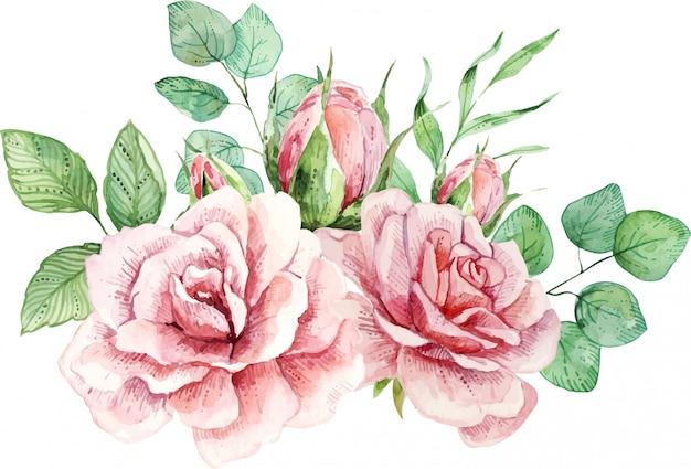 Delicada composição aquarela com rosas e folhas.