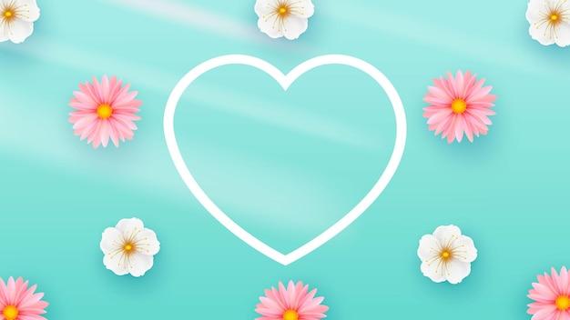 Delicadas flores de primavera fundo claro. formato de coração. modelo de composição minimalista
