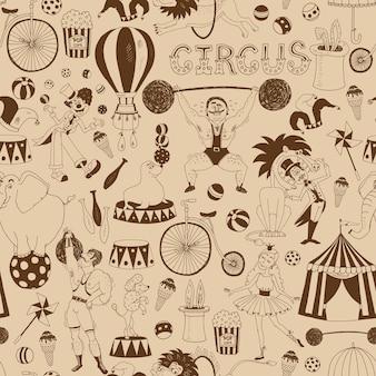 Delicado padrão de fundo de circo retrô sem costura para convites e papel de embrulho
