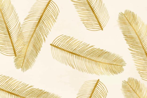 Delicado padrão de ilustração de penas douradas