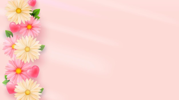 Delicate spring flowers light background