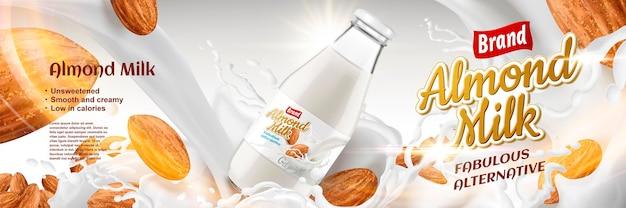 Deliciosa bebida alternativa com respingos de leite e amêndoas