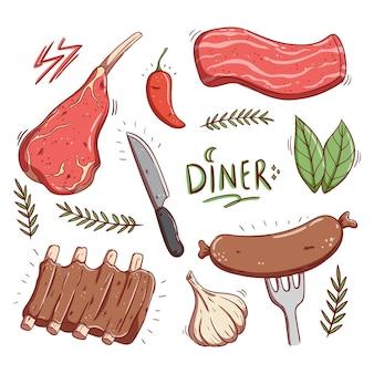 Deliciosa coleção de bife e carne crua com estilo doodle