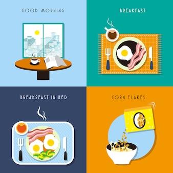 Deliciosa coleção de café da manhã em design plano