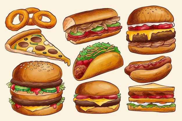 Deliciosa coleção de fast food Vetor grátis