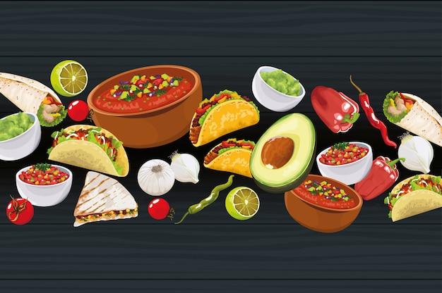 Deliciosa comida mexicana com ingredientes