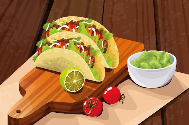 Deliciosa comida mexicana com taco e abacate