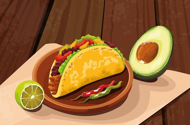 Deliciosa comida mexicana com taco