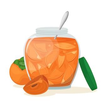 Deliciosa geléia de caqui em uma bela jarra.