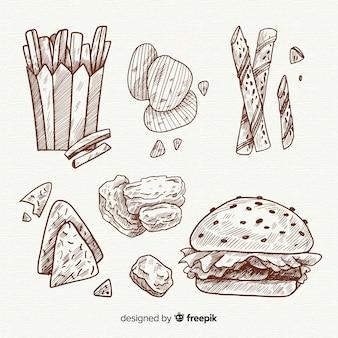 Deliciosa mão desenhada lanche coleção