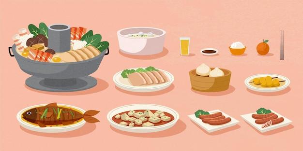 Deliciosa refeição caseira para o ano lunar chinês em fundo rosa