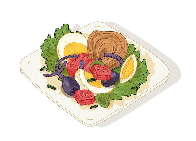 Deliciosa salada com legumes e peixes no prato isolado no fundo branco. saboroso prato saudável feito de anchovas, tomates, ovos, azeitonas. nutrição dietética. mão-extraídas ilustração vetorial.