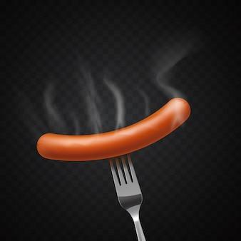 Deliciosa salsicha fumegante em um garfo no escuro