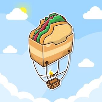 Deliciosa torrada balão voando no céu com ilustração estilo cartoon