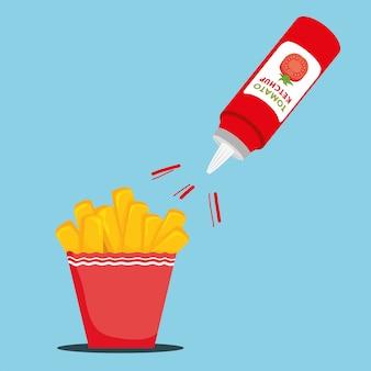 Deliciosas batatas fritas com ketchup