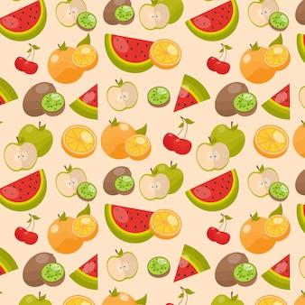 Deliciosas fatias de melancia e frutas cítricas padrão
