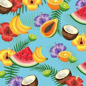 Deliciosas frutas com flores e galhos de folhas