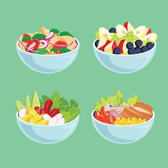 Deliciosas frutas frescas e saladas em tigelas