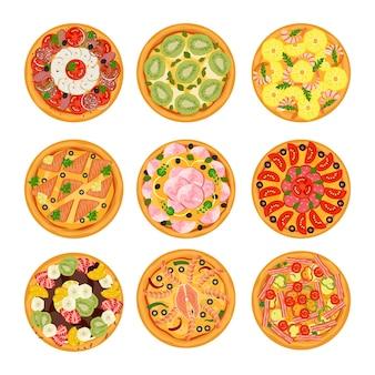 Deliciosas pizzas com vegetais, linguiça e mussarela