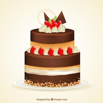 Delicioso bolo com creme e morangos