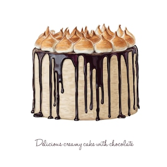 Delicioso bolo cremoso com chocolate