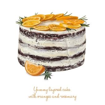 Delicioso bolo em camadas com laranjas e alecrim