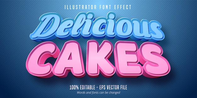 Delicioso bolos texto, efeito de fonte editável estilo pastelaria