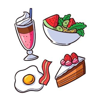 Delicioso café da manhã com salada e ovo