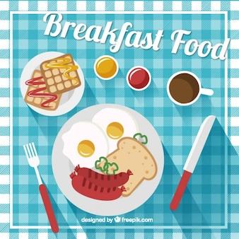 Delicioso café da manhã no design plano