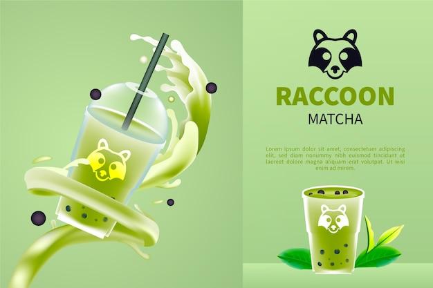 Delicioso chá matcha realista em anúncio de copo de plástico