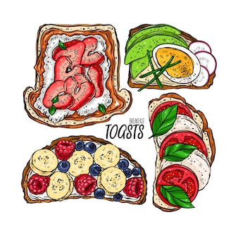 Delicioso conjunto de diferentes torradas de café da manhã. ilustração desenhada à mão