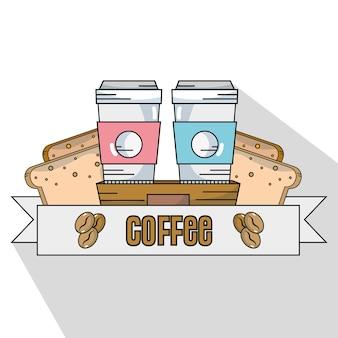 Delicioso copo de plástico de café e fatia de pães