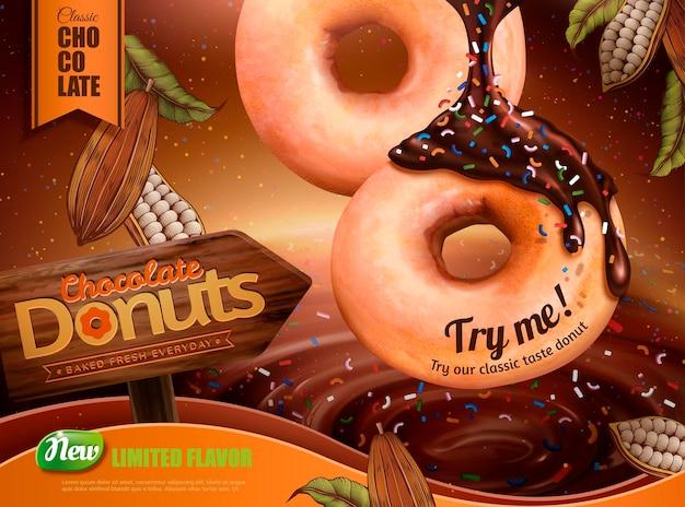 Delicioso donut de chocolate com molho pingando e banner de cacau