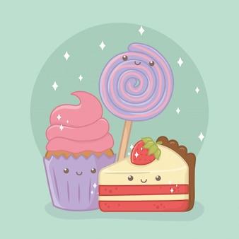 Delicioso e doce cupcake e produtos kawaii caracteres