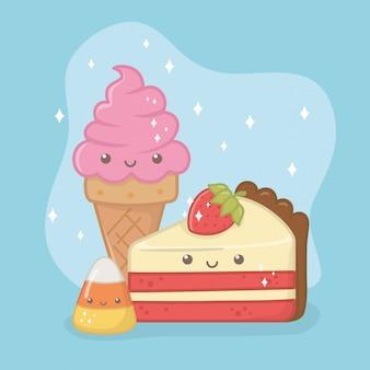 Delicioso e doce sorvete e produtos kawaii caracteres